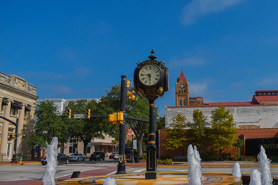 Clock in downtown Sumter, SC
