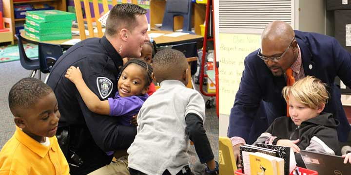Two images of police officers working with kids