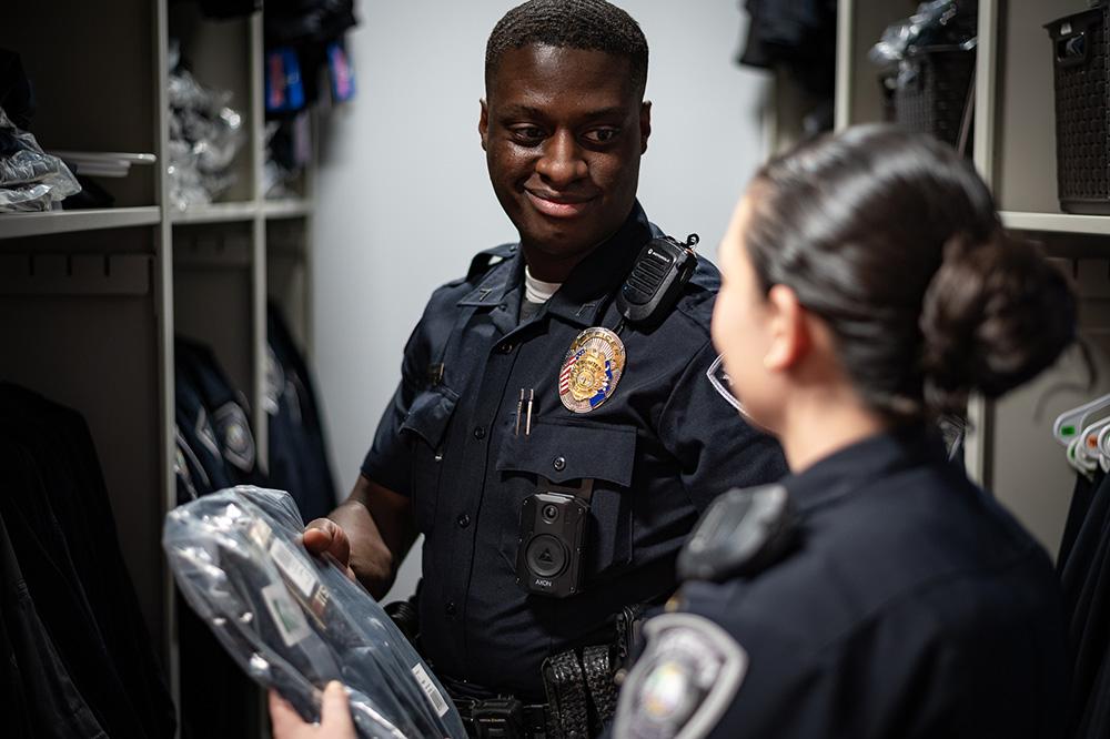SPD Officer getting uniform