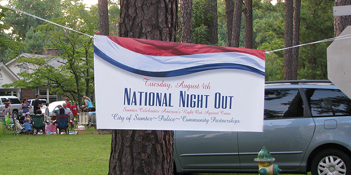 National Night Out Handing Sign